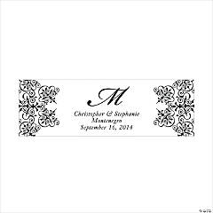 Personalized Medium Black Monogram Script Banner