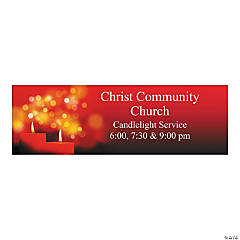 Personalized Medium Candlelight Christmas Vinyl Banner
