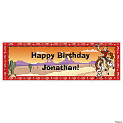 Personalized Medium Cowboy Birthday Vinyl Banner