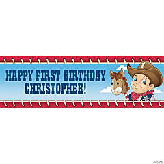Personalized Medium Cowboy 1st Birthday Banner