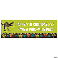 Personalized Medium Dino-Mite Vinyl Banner
