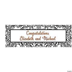 Personalized Medium Filigree Wedding Vinyl Banner