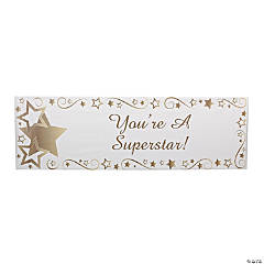 Personalized Medium Gold Star Vinyl Banner