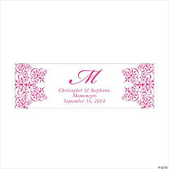 Personalized Medium Hot Pink Monogram Script Banner