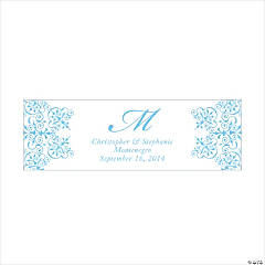 Personalized Medium Light Blue Monogram Script Banner