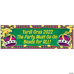Personalized Medium Mardi Gras Coins & Crown Vinyl Banner