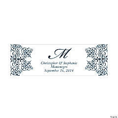 Personalized Medium Navy Blue Monogram Script Banner