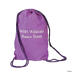 Personalized Medium Purple Drawstring Bags