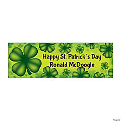 Personalized Medium St. Patrick's Day Four Leaf Clover Vinyl Banner