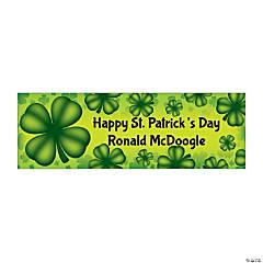Personalized Medium St. Patrick's Day Four Leaf Clover Vinyl Banner