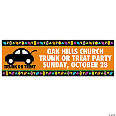 Personalized Medium Trunk-Or-Treat Vinyl Banner Halloween Décor
