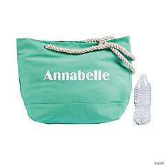 Personalized Mint Green Tote Bag with Rope Handles