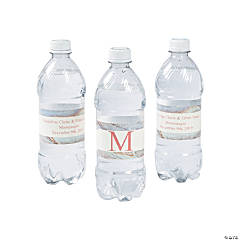 Personalized Monogram Marble Wedding Water Bottle Labels