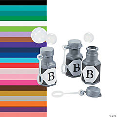 Personalized Monogram Silver Mini Bubble Bottles