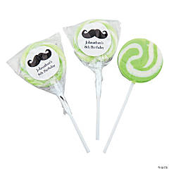 Personalized Moustache Light Green Swirl Pops