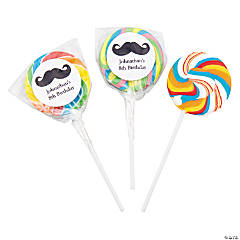 Personalized Moustache Rainbow Swirl Pops