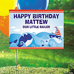 Personalized Nautical 1st Birthday Yard Sign