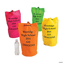 Personalized Neon Barrel Drawstring Bags
