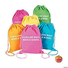Personalized Neon Canvas Drawstring Backpacks