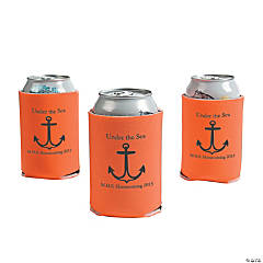 Personalized Orange Anchor Can Covers