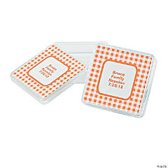 Personalized Orange Gingham Square Favor Containers
