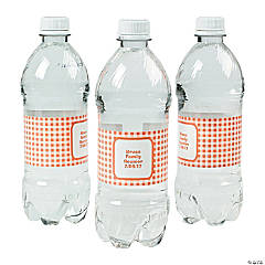 Personalized Orange Gingham Water Bottle Labels