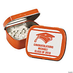 Personalized Orange Graduation Mint Tins