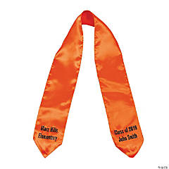 Personalized Orange Graduation Stole