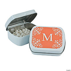 Personalized Orange Monogram Mint Tins