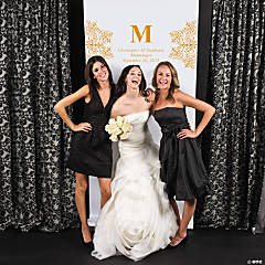 Personalized Orange Monogram Photo Booth Backdrop