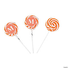 Personalized Orange Monogram Swirl Lollipops