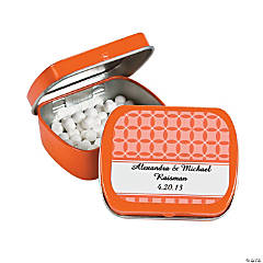 Personalized Orange Patterned Wedding Tins With Mints