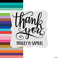 Personalized Ornate Die Cut Thank You Stickers
