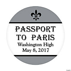Personalized Paris Theme Favor Stickers