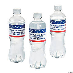 Personalized Patriotic Flag Water Bottle Labels