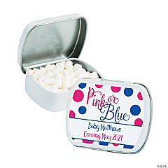 Personalized Pink or Blue Gender Reveal Mint Tins