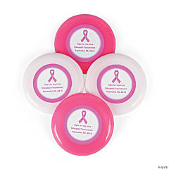 Personalized Pink Ribbon Mini Flying Disks
