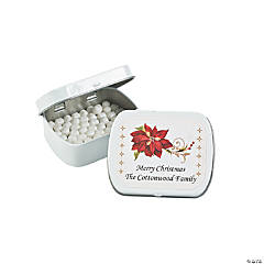 Personalized Poinsettia Mint Tins