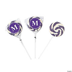 Personalized Purple Monogram Swirl Lollipops