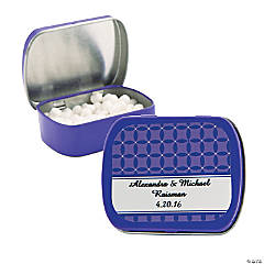 Personalized Purple Patterned Wedding Tins With Mints