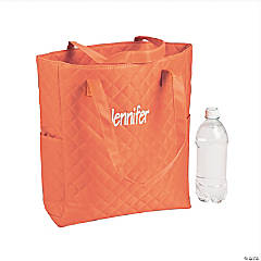 Personalized Quilted Orange Totes