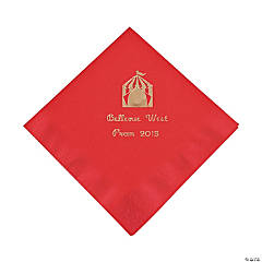 Personalized Red Carnival Beverage Napkins - Gold Print