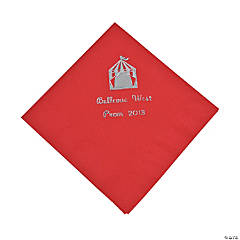Personalized Red Carnival Beverage Napkins - Silver Print