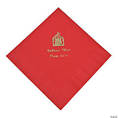 Personalized Red Carnival Luncheon Napkins - Gold Print