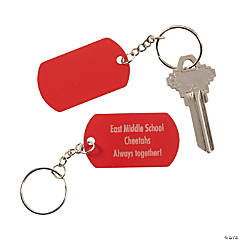Personalized Red Dog Tag Keychains