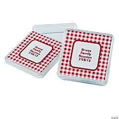 Personalized Red Gingham Square Favor Containers