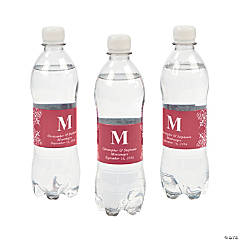Personalized Red Monogram Bottle Labels