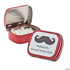 Personalized Red Moustache Mint Tins