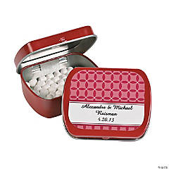 Personalized Red Patterned Wedding Tins With Mints
