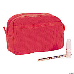 Personalized Red Waffle Weave Cosmetic Bag